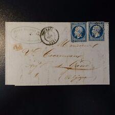 FRANCIA NAPOLÉON N°14 x2 LETTERA COVER PC 2737 ROUBAIX 1855 -> GHENT BELGIO