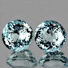 Ein Paar 5mm Rund Facettiert Starkes Wasserblau Kunstdiamanten Aquamarin