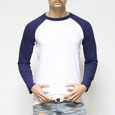 Men's Long Sleeve Baseball T-Shirt Raglan Jersey Casual Tee Crew Neck S-2XL