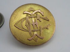 Rare Antique MERMOD & JACCARD Jewelry Co. Emboss Gilted Cipher Initial Button