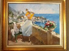 "Lubov Vishnevska original oil painting "" Girl on the terrace """