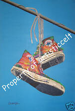 "JOSEPH'S SHOES OF MANY COLORS Art print of Painting by CHRISTINA JOHNS 13""x19"""