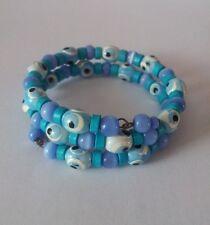NEW Evil Eye Bangle Bracelet Blue & Purple Beads Jewellery Girls Kids Womens