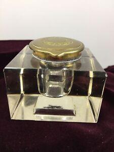 Clear Lead Crystal Glass Inkwell Brass Metal Lid Laurel Wreath Design Vintage