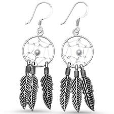 Plain Large Feather Dreamcatcher .925 Sterling Silver Earrings