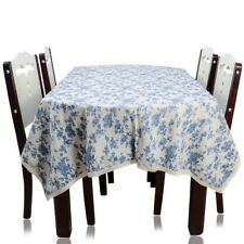 Dining Table Cloth Blue Floral Design Lace Side Thick Linen Cotton Textile Cover
