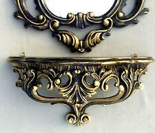 Espejo de Pared Barroco Negro Oro con consola antiguo 50x76 Rococó REPRO RETRO