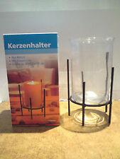 Kerzenhalter aus Metall mit Glaseinsatz - Neu in OVP !