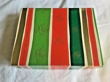 Vintage Marshall Fields Christmas Red Greens Ribbons Gold Monogram Logo Gift Box