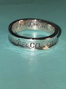 Tiffany & Co 1837 Silver 925 Concave Band Ring    Size Q