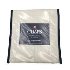 New Chaps Home Damask Stripe Size Full Bed Skirt 100% Pima Cotton 500 Tc Ivory