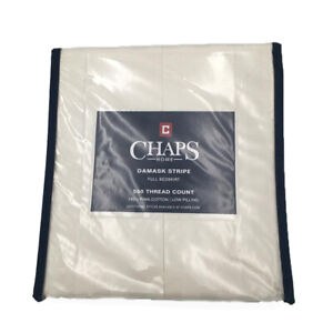 New Chaps Home Demask Stripe Size Full Bedskirt 100% Pima Cotton 500 Tc In Ivory