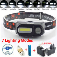 7 Modes USB Rechargeable Headlamp COB LED Headlight Head Light Torch Flashlight