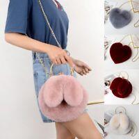 Women Chain Bag Designer Fluffy Handbag Clutch Lady Faux Fur Bag Cossbody Purse