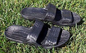 New Black Rubber Hawaiian Hawaii Jesus Sandals Unisex Classics Pali Slippers