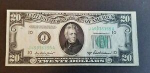 NICE* $20 DOLLAR FEDERAL RESERVE NOTE BILL (J) 1950 KANSAS CITY SERIES B*