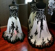 New Gothic Black and White Wedding Dresses Custom Made Plus Size Bridal Gowns