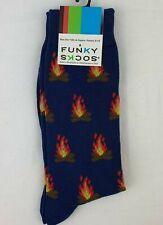 Funky Socks CAMPFIRE Socks Camping Fire Socks Blue Casual Crew Socks
