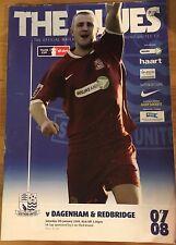 Southend United Vs Dagenham & Redbridge Programme & Teamsheet. FA Cup 05.01.08