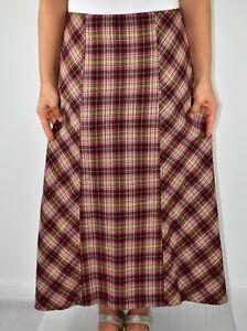 Per Una Maxi Skirt Check Spring Winter Italian Fabric Wool Blend Size 14 AC