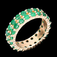 Unheated Round Green Emerald 2.5mm 14K Rose Gold Plate 925 Sterling Silver Ring