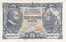 BILLETE DE ESPAÑA DE 25 PTAS DEL AÑO 1940 DE LA SERIE A EN BUENA CALIDAD
