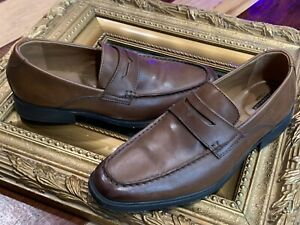 CLARKS COLLECTION SOFT CUSHION  15770 PENNY LOAFER BROWN LEATHER 10 43 M EUC