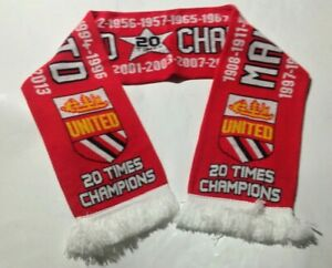 Manchester United 20 Times Champions knitted JACQUARD SCARF - POSTFREE to UK