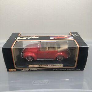 MAISTO 1951 VOLKSWAGEN CABRIOLET 1:18 Die Cast Car Red Convertible NIB