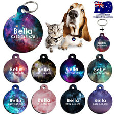 Metal Steel Personalized Pet cat dog Tag Custom Nebula ring Name Tags Galaxy