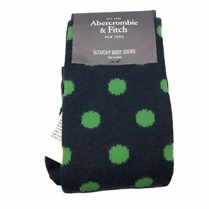NEW Abercrombie & Fitch Womens Blue Green Polka Dots Slouchy Boot Socks