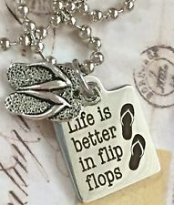 Silver 'Life Is Better In Flip Flops' Necklace. Beach Lover. Summer. Lake.