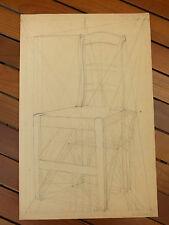 Etude de Chaise, Planche Perspective Beaux Arts années 30 signée Senault