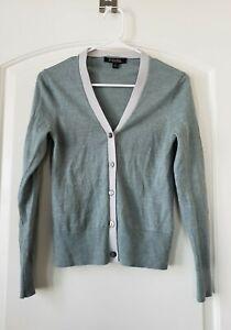 BROOKS BROTHER'S Green / Gray cardigan in extra-fine Merino wool Sz Small #1489