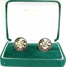 in Black & Gold 1958 sixpence cufflinks real coins