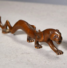 "7.9"" China Pure Bronze Zodiac Tiger Unicorn Statue Pen Rack Writing Brush Holder"