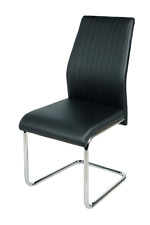 4 Seats Distressed Leather Dining Chairs Chrome Base Legs Kitchen HOME Furniture
