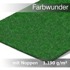 Nur 4,45 € pro m² Kunstrasen Rasenteppich m. Noppen 1190g/m² | Farbwunder | Grün