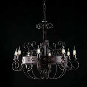 Suspended Lights Wrought Iron Classic Vintage Black Rust