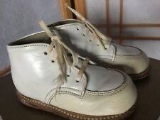 White Leather Stride Rite Baby Shoes Vintage Antique Flexible Moccasins 4.5E