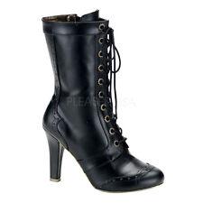 Demonia Tesla 102 Ladies Ankle Boots Heel Steampunk 11 Eyelet Calf