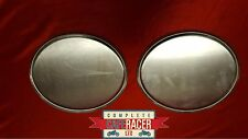 2 CAFE RACER CLASSIC RETRO RACE TRACK RACING NUMBER BOARD PLATE OVAL SILVER PAIR