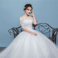 Lace-Up Back Ball Gown Wedding Dress Half Sleeve Off-Shoulder Wedding Dresses