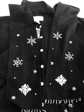 Heirloom Collectibles Ugly Christmas Sweater Black Snowflake Cardigan Size L