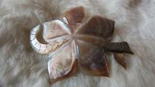 Vintage Carved Mother Of Pearl Flower Snake Brooch