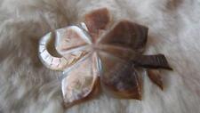 Vintage Carved Mother Of Pearl Flower Snake Brooch