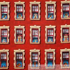 BonEful Fabric FQ Cotton Quilt Red Brick City House Window Puppy Hound Dog Breed