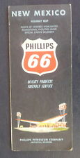 1963 New Mexico  road map Phillips 66  oil  gas route 66 event calendar Santa Fe