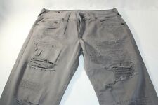 True Religion Geno Gray Relaxed Slim Distressed $199.00 Denim Jeans 31 X 32 New