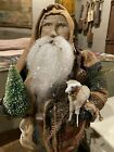 Arnett's Country Store OOAK Santa With Coat Made From Early Log Cabin Quilt